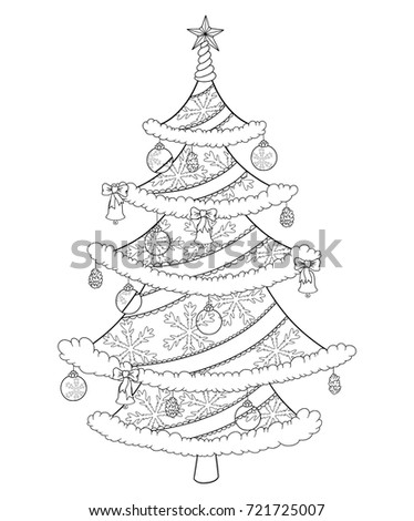 Christmas Tree Coloring Book Isolated On Stock Vector 721725007 ...