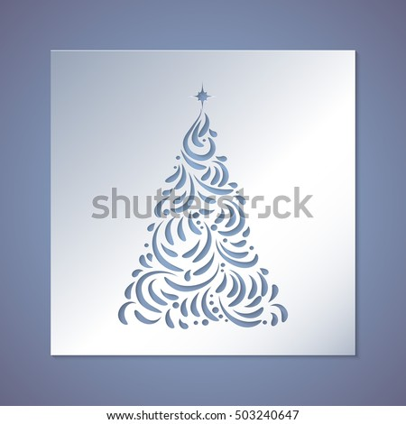 Christmas Tree Cut Out Paper Template Stock Vector 503240647 ...