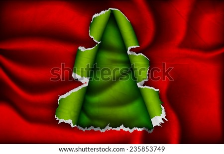 Christmas tree cut out of red silk - stock vector