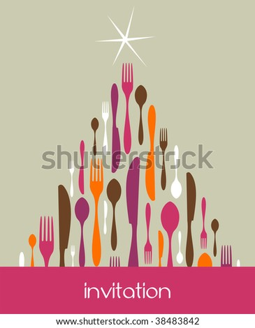 Christmas Tree Cutlery. Fork, spoon and knife pattern forming a tree with a shiny white star on top. Pastel color background. Usable as invitation card.