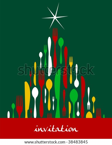 Christmas Tree Cutlery. Fork, spoon and knife pattern forming a tree with a shiny white star on top. Green background. Usable as invitation card.