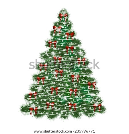 Christmas tree decorated with bows and lights - vector illustration  - stock vector