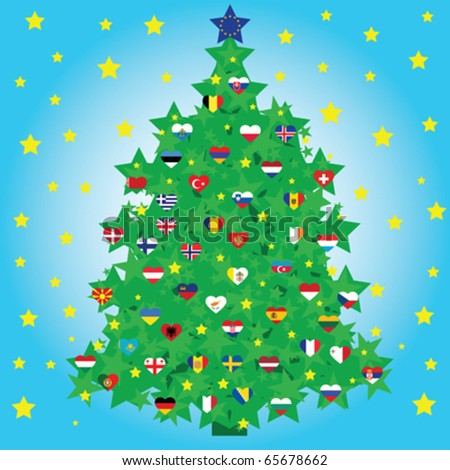christmas tree decorated with national european heart shape flags and european union flag as a star - stock vector