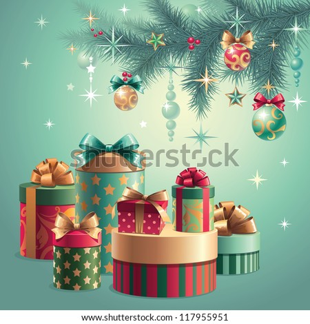 christmas tree decoration gifts - stock vector