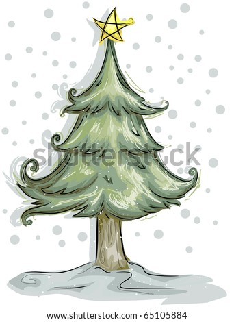 Christmas Tree Design Featuring a Furry Christmas Tree - stock vector