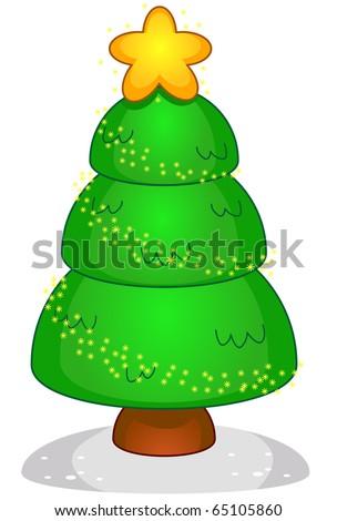 Christmas Tree Design Featuring a Metallic Christmas Tree Adorned with Colorful Christmas Lights - stock vector