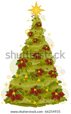 Christmas Tree Design Featuring a Sketch of a Christmas Tree Adorned with Poinsettias - stock vector