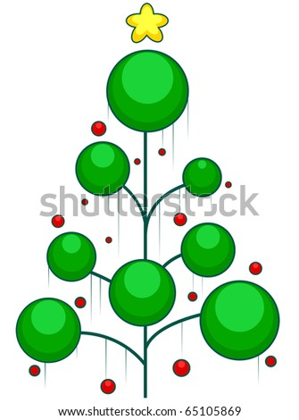 Christmas Tree Design Featuring Rods Adorned with Christmas Decor - stock vector