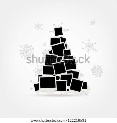 Christmas tree design made from photo frames, insert your pictures - stock vector