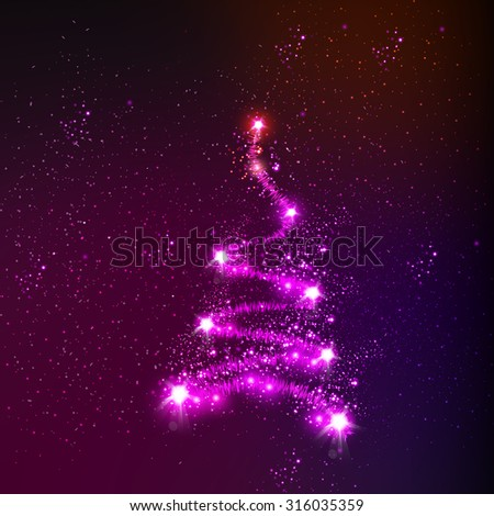 Christmas tree easy all editable - stock vector