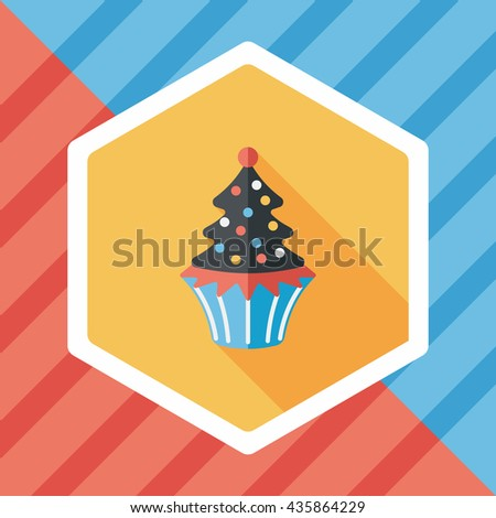 Christmas tree flat icon with long shadow,eps10