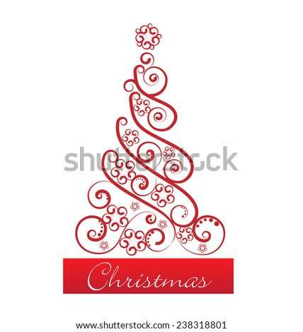 Christmas tree floral swirls greetings card vector icon - stock vector