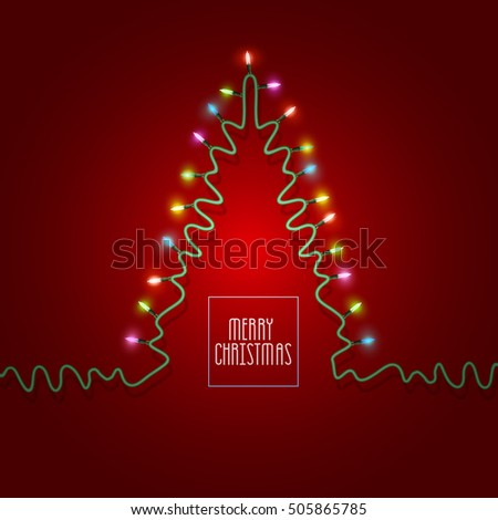 Christmas tree formed garland lights on red background. Christmas greeting card, invitation template. Vector illustration