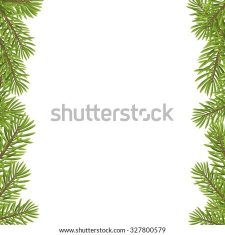 Christmas tree frame isolated on white background. vector illustration.  - stock vector