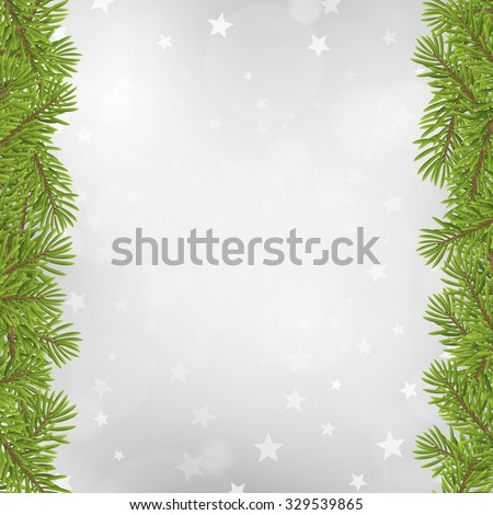 Christmas tree frame on blurred silver star background. vector illustration.  - stock vector