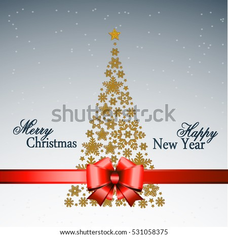 Christmas tree from beautiful snowflakes pattern for greeting card Happy New Year Christmas. Gold stars as decoration.Red festive ribbon with a bow. Vector illustration