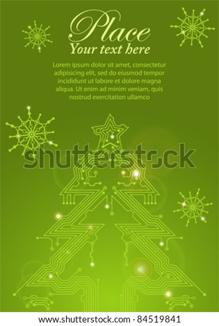 Christmas Tree from circuit board with Digital Snowflake, element for design, eps10 vector illustration - stock vector
