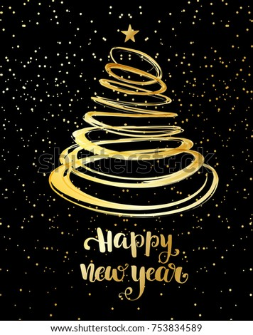 Christmas tree from gold spiral with star on top. Lettering phrase Happy New Year. Christmas card design. Holiday vector background.