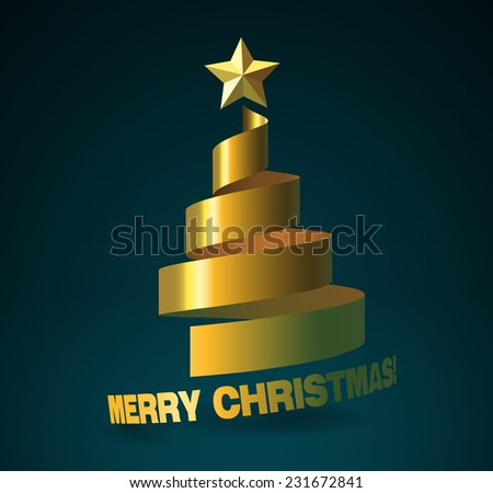 Christmas tree from golden ribbon, and with golden star on dark turquoise background. The Merry Christmas bending as continuation of the ribbon. - stock vector