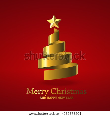 Christmas tree from golden ribbon, and with golden star. Vector illustration. - stock vector