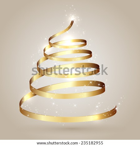 Christmas tree from golden ribbon with sars, illustration. - stock vector