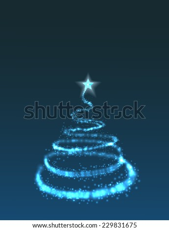 Christmas tree from light  background  - stock vector