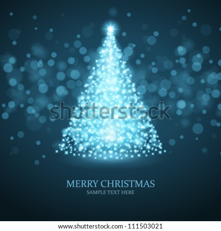 Christmas tree from light vector background - stock vector