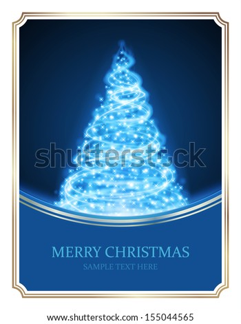 Christmas tree from light vector background. Card or invitation. Eps 10.  - stock vector