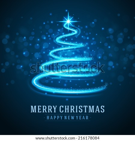 christmas tree from light vector background greeting card or invitation eps 10 - Light Christmas Tree