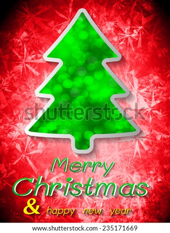 Christmas tree from light vector red background