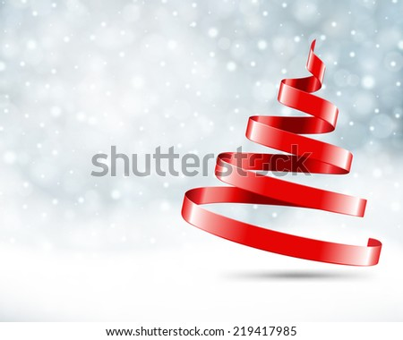 Christmas tree from ribbon vector background. Christmas card or invitation.  - stock vector