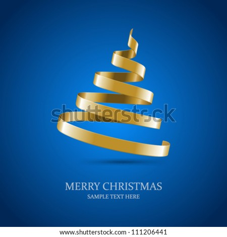 Christmas tree from ribbon vector background. Eps 10. - stock vector