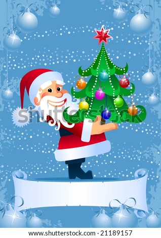 Christmas Tree from Santa. Christmas card with a blank scroll for title - stock vector