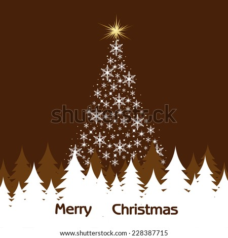 Christmas tree from snowflakes vector - stock vector