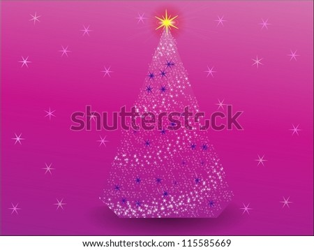 Christmas tree from stars on a pink background/Christmas Three - stock vector