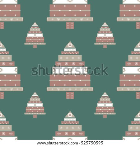 Christmas tree gifts seamless pattern. New year vector illustration.