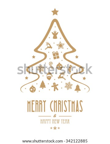 christmas tree gold ornament isolated background - stock vector