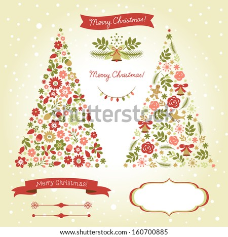 Christmas tree, graphic elements, holiday symbols  - stock vector