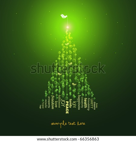 Christmas Tree, Greeting Card - stock vector