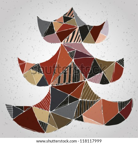 Christmas Tree Greeting Card ... Grunge abstract illustration of christmas tree in modernistic manner on gradient background (collage) - stock vector