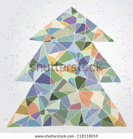 Christmas Tree Greeting Card ... Grunge abstract illustration of christmas tree in modernistic manner on gradient background (impressionistic colors) - stock vector