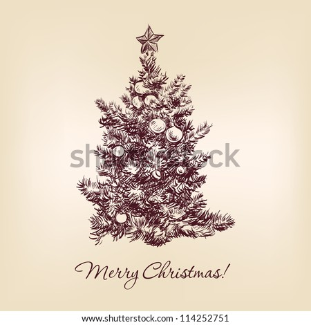 christmas tree hand drawn  vector illustration  isolated - stock vector