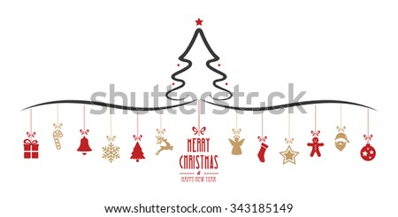 christmas tree hanging decoration elements isolated background - stock vector