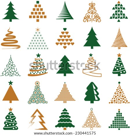 Christmas tree icon collection - vector illustration