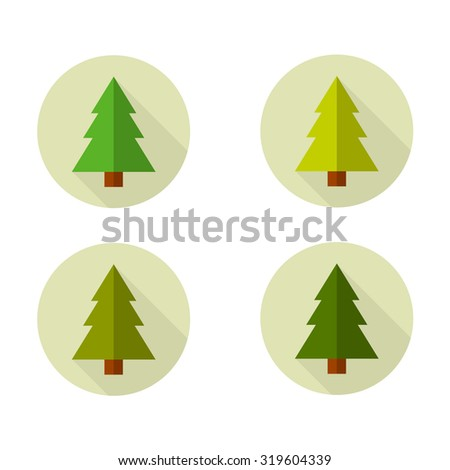 Christmas tree icon. Flat design style modern vector illustration. Isolated on stylish color background. - stock vector