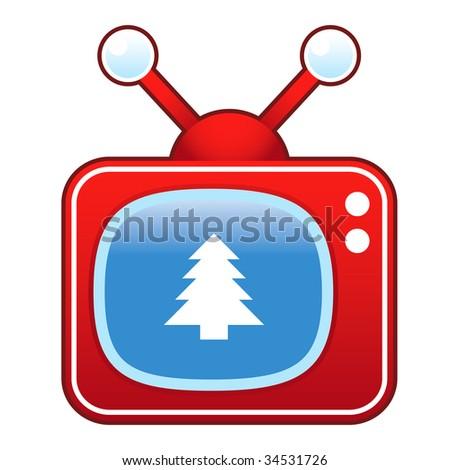 Christmas tree icon on retro television set - stock vector