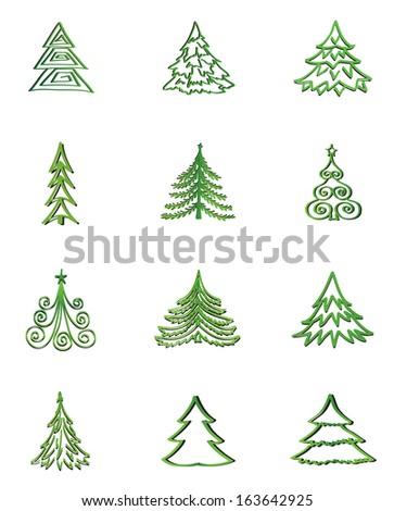 Christmas tree icon set. Fir vector collection. - stock vector