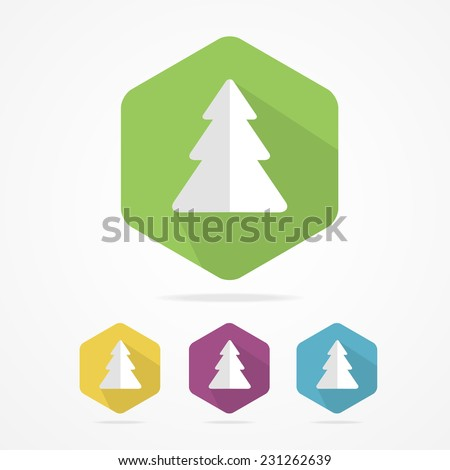 Christmas tree icon set in flat design style, vector illustration - stock vector