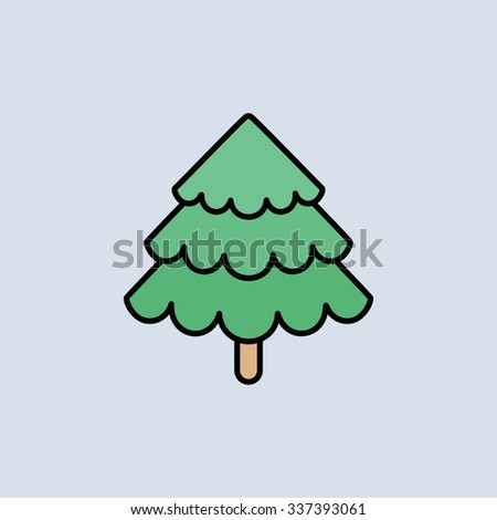 Christmas tree icon. Vector icons. Linear style - stock vector