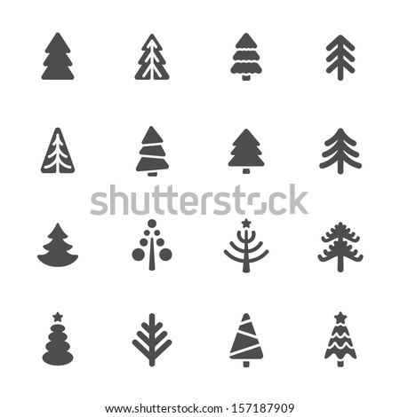Christmas tree icons set - stock vector